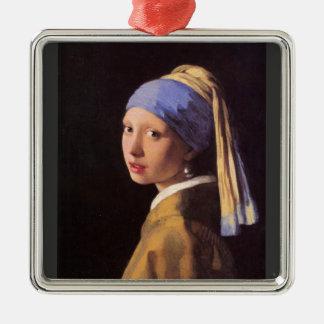 A menina com o brinco da pérola por Vermeer Ornamento Quadrado Cor Prata