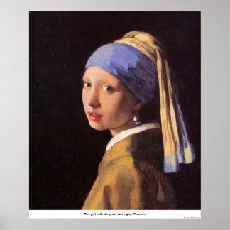 A menina com o brinco da pérola por Vermeer Poster