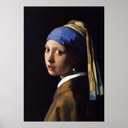A menina com o brinco da pérola por Vermeer Impressão
