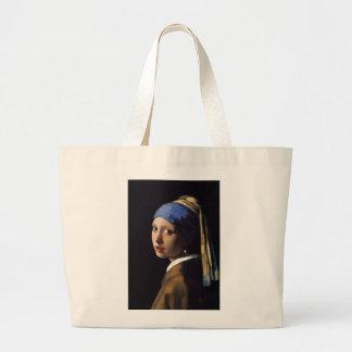 A menina com o brinco da pérola por Vermeer Sacola Tote Jumbo