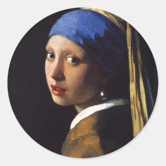 A menina com o brinco Johannes Vermeer da pérola Adesivo Redondo