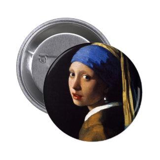A menina com o brinco Johannes Vermeer da pérola Botons