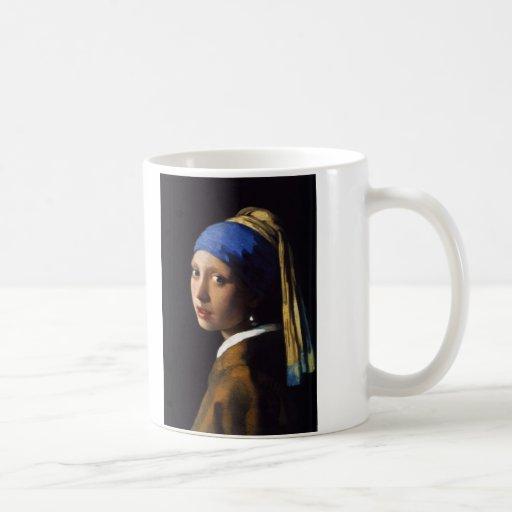 A menina com o brinco Johannes Vermeer da pérola Canecas