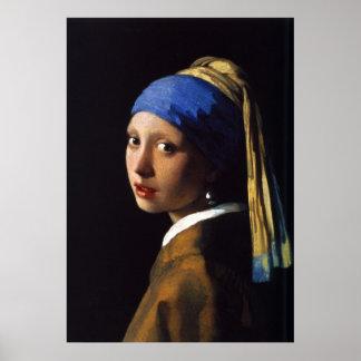 A menina com o brinco Johannes Vermeer da pérola Posters
