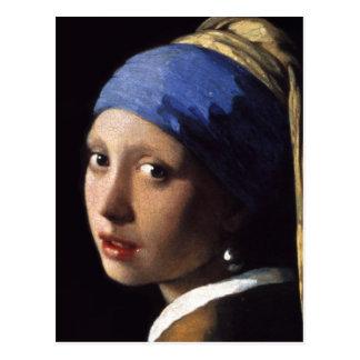 A menina com um brinco da pérola fecha-se em cartão postal
