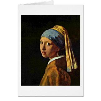 A menina com um brinco da pérola por Johannes Cartão