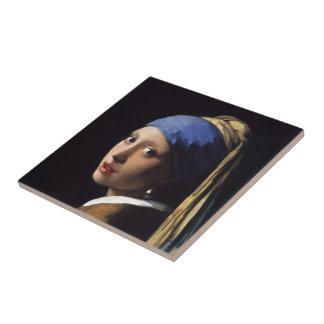 A menina com um brinco da pérola por Johannes Verm Azulejos