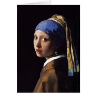 A menina com um brinco da pérola por Johannes Verm Cartão
