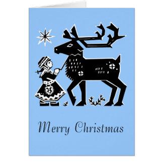 A menina de Lapland guardara o cartão de Natal da