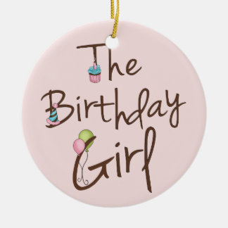 A menina do aniversário ornamento de cerâmica redondo