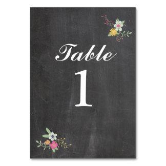 A mesa numera cartões florais Wedding do giz das
