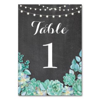 A mesa numera Succulents do casamento giz rústico Cartão