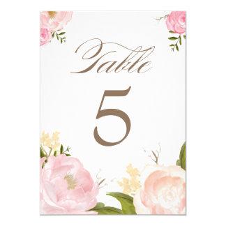 A mesa romântica das flores da aguarela numera o convite 12.7 x 17.78cm