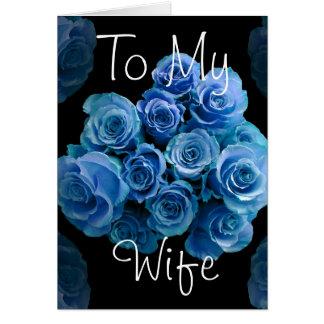 A meu aniversário feliz dos rosas azuis da esposa cartões