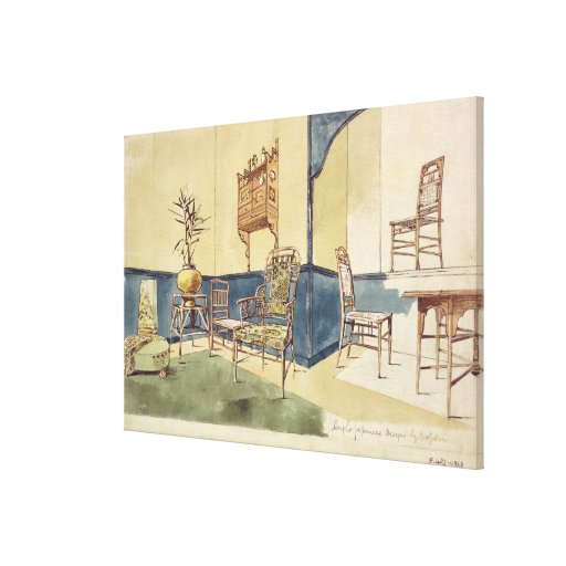 A mobília Anglo do estilo japonês projeta por Edwa Impressão Em Canvas