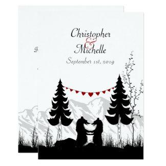 A montanha encantador da silhueta carrega o convite 12.7 x 17.78cm