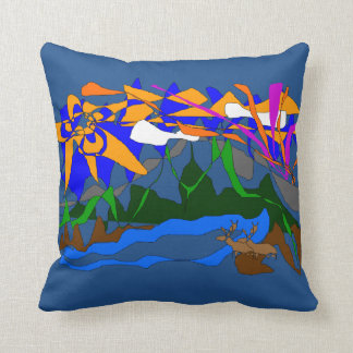 A montanha sonha a cena do verão do travesseiro almofada