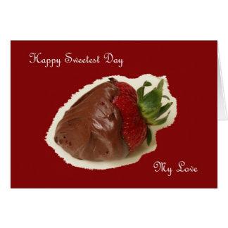 A morango a mais doce do chocolate do cartão do