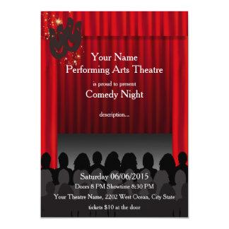 A mostra do palco da comédia das artes de palco do convite 12.7 x 17.78cm