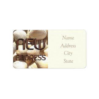 A mudança de endereço etiqueta escudos do mar etiqueta de endereço