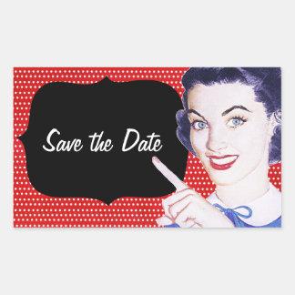 a mulher apontando dos anos 50 salvar a data adesivo retangular