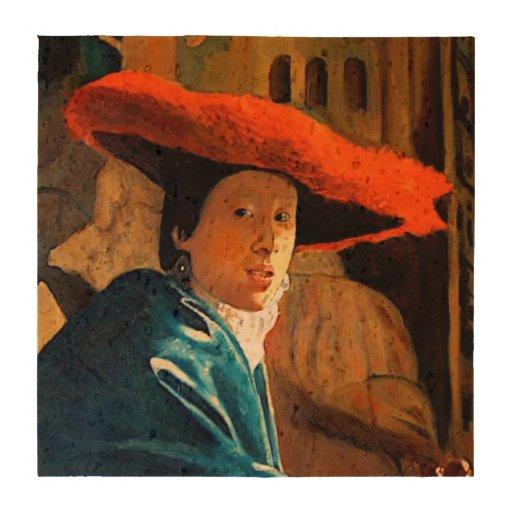 A mulher com Red Hat, arte original de Vermeer Descanso De Copos