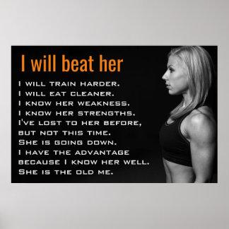 A mulher do Gym Muscles a motivação do exercício Pôster