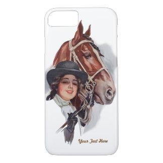 A mulher e o cavalo equestres personalizam capa iPhone 7