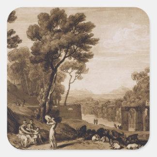 A mulher e o pandeiro, gravados pela volta de adesivo em forma quadrada