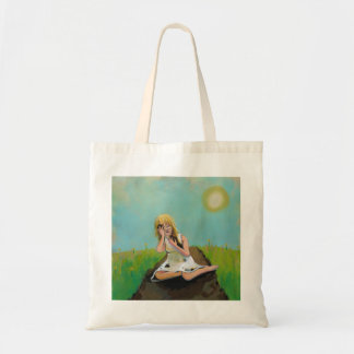 A mulher triste encontra o conforto na sujeira da  sacola tote budget