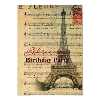 A música artística nota a torre Eiffel de Paris Convite 11.30 X 15.87cm