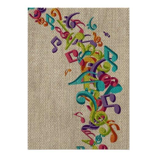A música bonita da textura de serapilheira nota o  convite personalizado