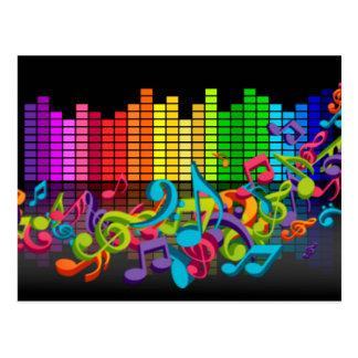 a música colorida nota o equalizador cartao postal