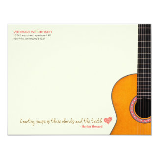 """A """"música country é cartões de nota de três convite 10.79 x 13.97cm"""