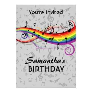 A música de Blck do arco-íris nota a festa de aniv Convites Personalizados
