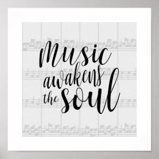 A música desperta a cor do costume da alma pôster