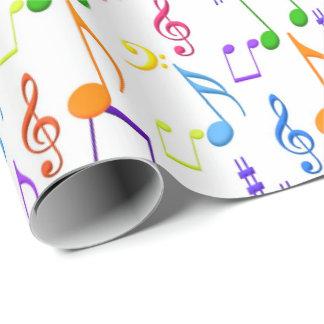 A música do divertimento nota o envoltório do papel de presente