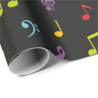 A música do divertimento nota o envoltório papel de presente
