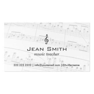 A música do professor de música nota elegante cartão de visita