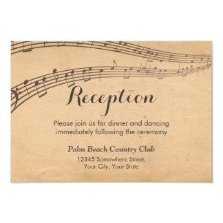 A música do vintage nota a recepção de casamento convite 8.89 x 12.7cm