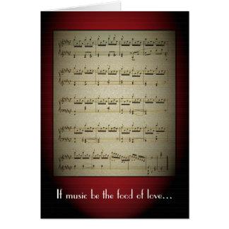 A música é a comida do cartão do amor