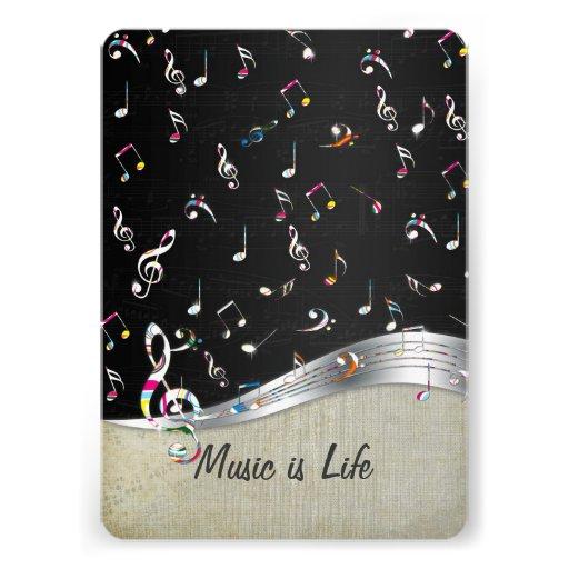 """A """"música é notas coloridas legal impressionantes  convite personalizado"""