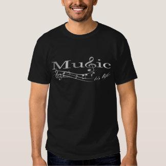 A música é vida - prata t-shirt
