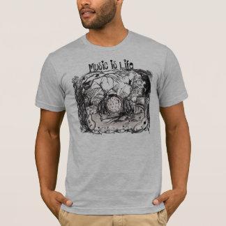 A música é vida - tshirt dos trabalhos de arte camiseta