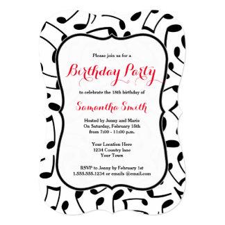 A música elegante nota a festa de aniversário convite 12.7 x 17.78cm