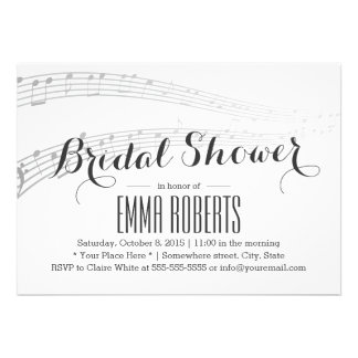 A música elegante nota chás de panela convite personalizado