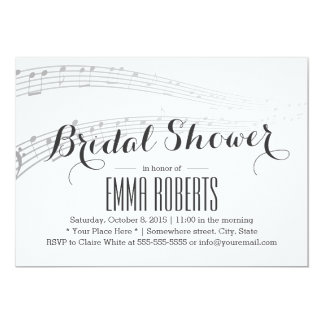 A música elegante nota chás de panela convite 12.7 x 17.78cm