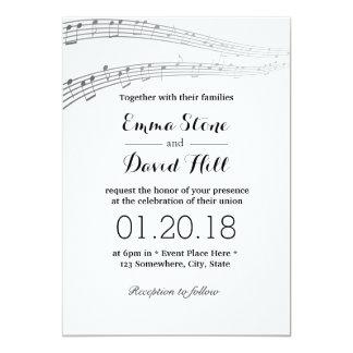 A música elegante nota o casamento musical convite 12.7 x 17.78cm