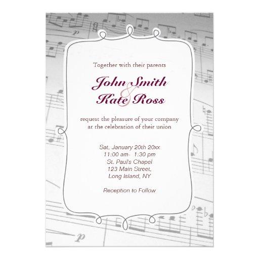 A música elegante nota o convite do casamento