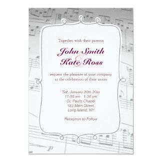 A música elegante nota o convite do casamento convite 12.7 x 17.78cm